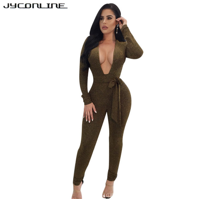 9ef99f59d5f1 JYConline Deep V-Neck Skinny Bandage Rompers Womens Jumpsuit Winter Long  Sleeve Sexy Overalls Tight Bodysuit For Women Macacao