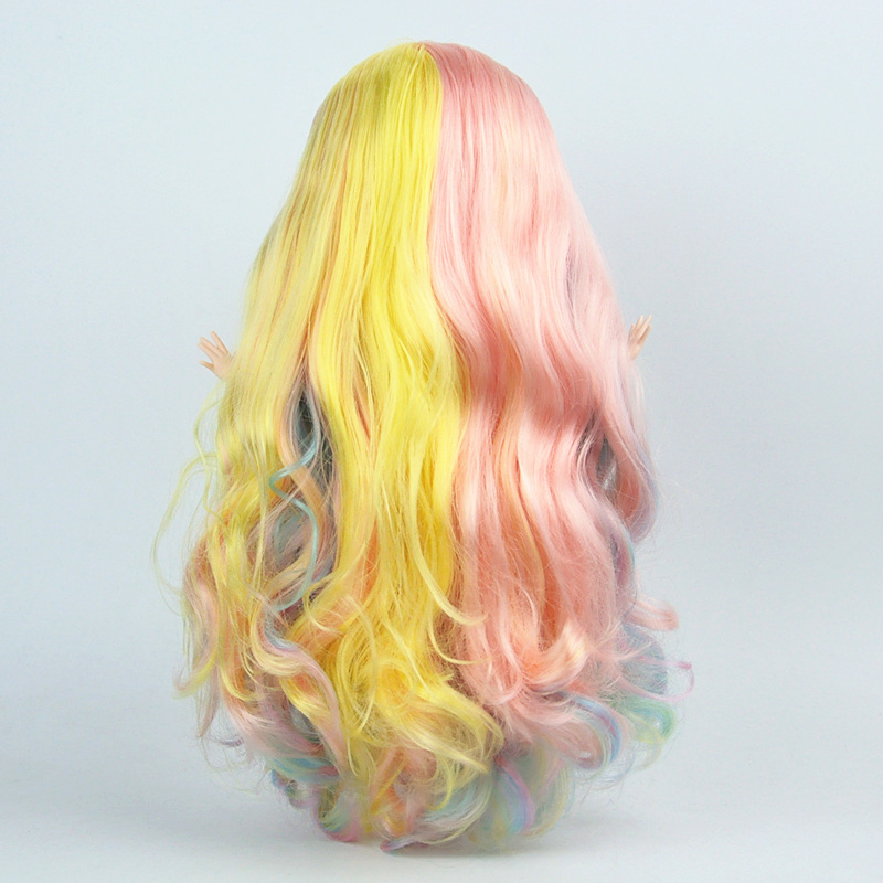 DIY Wavy Curly Hair Wig for 1/6 Doll Scalp RBL blyth doll accessories White skin Scalp with Colorful Hair diy blyth Toy for girlDIY Wavy Curly Hair Wig for 1/6 Doll Scalp RBL blyth doll accessories White skin Scalp with Colorful Hair diy blyth Toy for girl