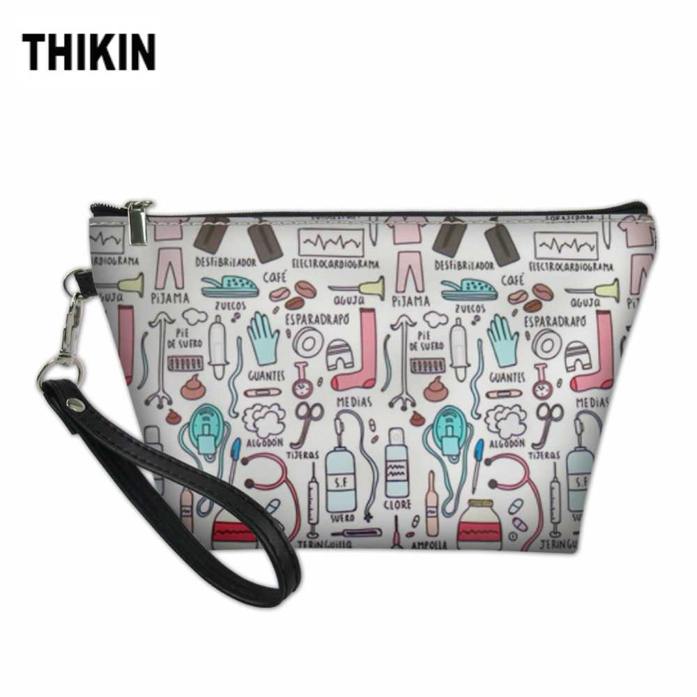 THIKIN Fashion Cartoon Nursing Bear Print Woman Cosmetic Case PU Leather Large Makeup Bags Casual Lady Make Up Case Custom