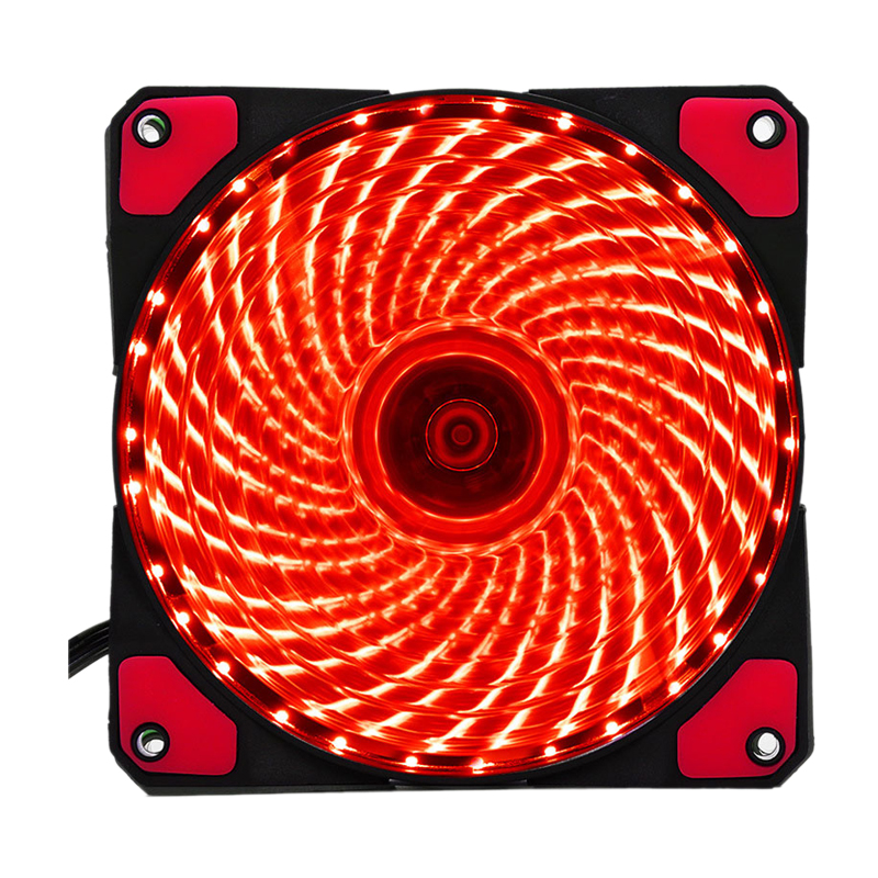 120mm PC Computer 16dB 33 LEDs Case Fan Heatsink Cooler Cooling with Anti-Vibration Rubber,12CM Fan,12VDC 3P IDE 4pin red wholesale 20 x pc case fan silicone anti vibration shock absorption noise reduction screws dropshipping