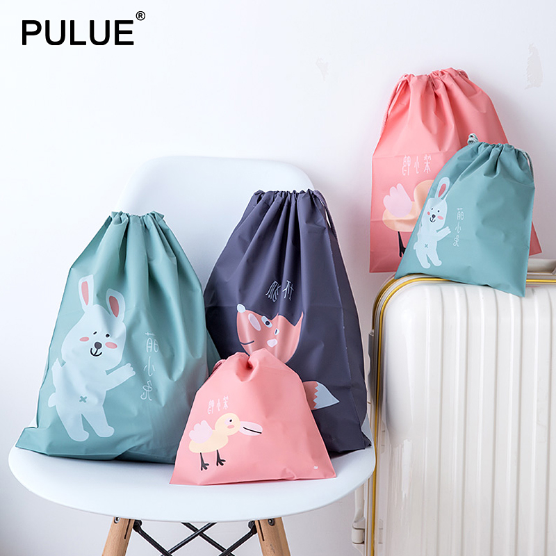 3pcs set Cartoon Portable Drawstring Bags Women Shoes Bags Packing Oraganize Pouch Waterproof Clothes Underwear Cosmetic