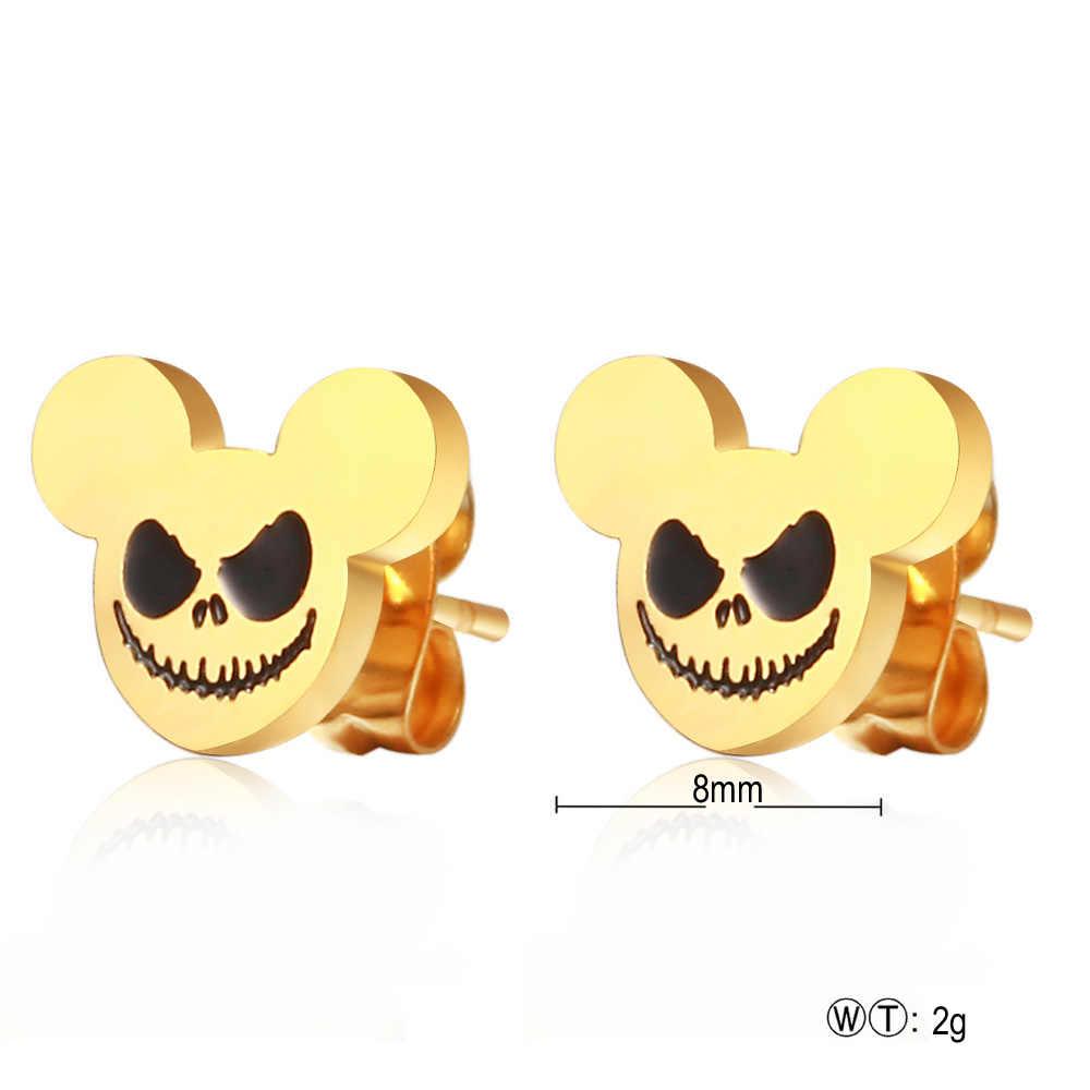 Diseño de Halloween, pendientes clásicos de Mickey para mujeres y niñas, joyería de moda de oro/plata al vacío, pendientes de acero inoxidable