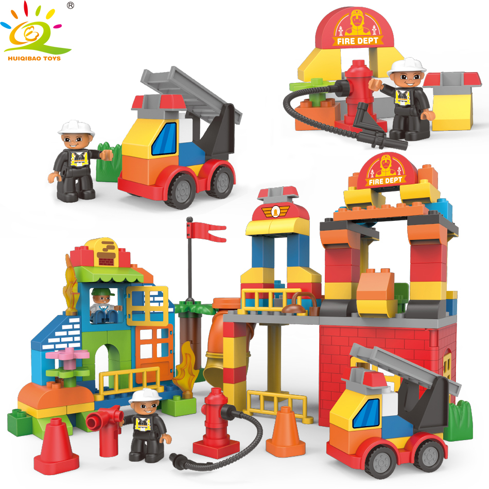 124pcs DIY Big Size City Fire Station Building Blocks Compatible Legoed Duploed Truck Brick Firefighter Figure Toys For Children diy flowers blocks city blocks bush trees grass leaves flowers pots building blocks brick legoed blocks toys children toys gifts
