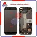 Высокое качество Для Iphone 5 5G Полный Жилищно Ассамблея Задняя Крышка Батареи с Sim-карты Лоток + Кнопки + Flex Кабели
