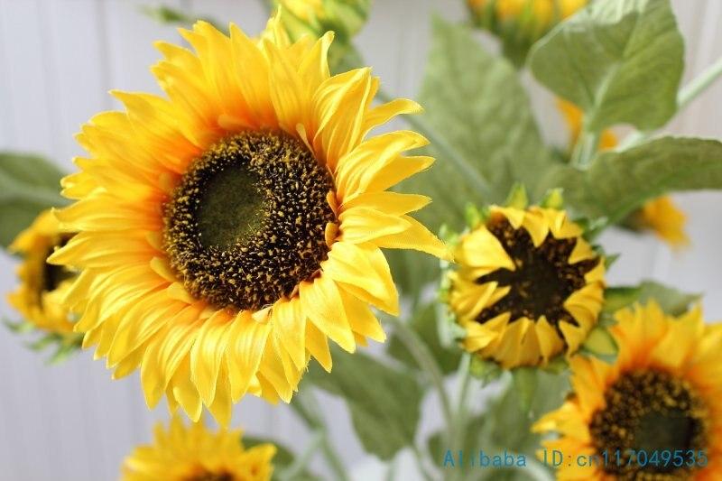 1 PCS 90 cm 3 Flower Heads Artificial Sunflower Silk Flower Home Party Decoration F411
