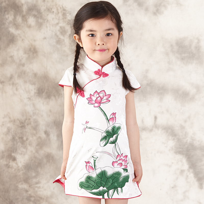 2017 autumn chinese style traditional girls dress child tang suit kids printing cheongsam baby princess dresses robe baby qipao free shipping new red hot chinese style costume baby kid child girl cheongsam dress qipao ball gown princess girl veil dress