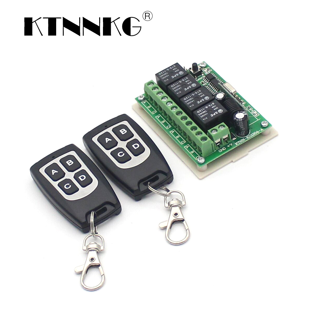 DC12V 433mhz Relay Module Kit 4 Gang Universal Wireless Remote Control Switch Receiver And 2pcs Transmitter Drop Shipping Suport
