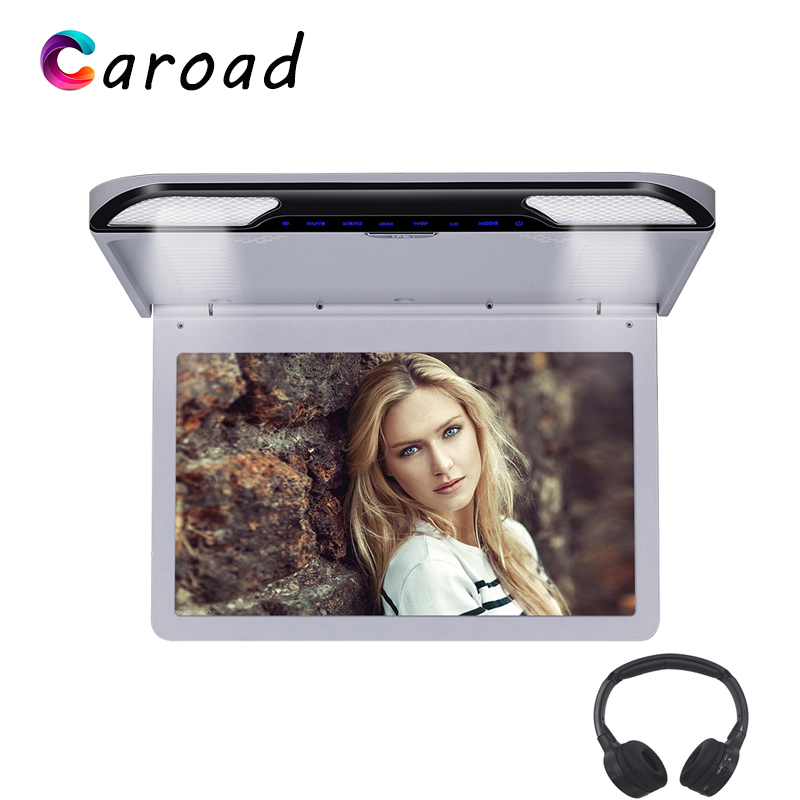 MP5 Player 13.3 Inch IPS Digital Screen Car Roof Monitor Built-in Two Dome Lights USB/SD/HDMI/IR/FM/Speaker Ceiling TV For Car(China)