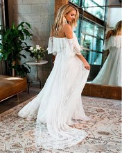Sexy Boat Neck Lace Beach Wedding Dress 2019 Off the Shoulder Boho Vestido De Novia Elegant Cap Sleeve Wedding Dresses