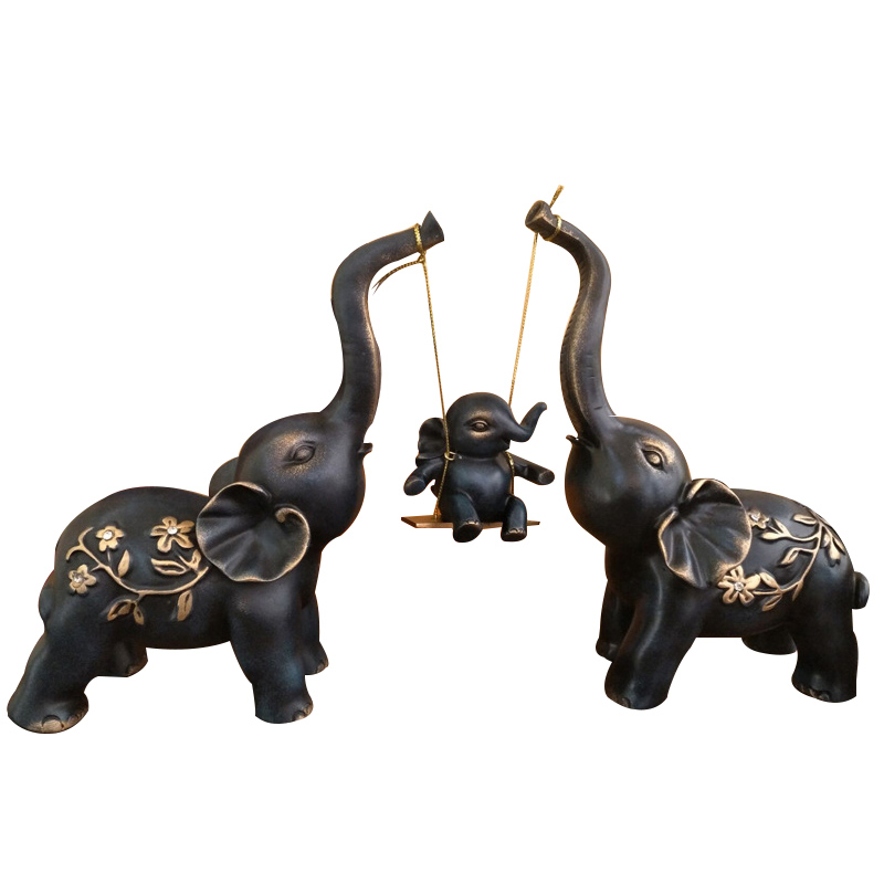 Home Decoration Figurine Europe Style Elephant Family Resin Ornament Desktop Crafts Creative Living Room Business Wedding Gifts