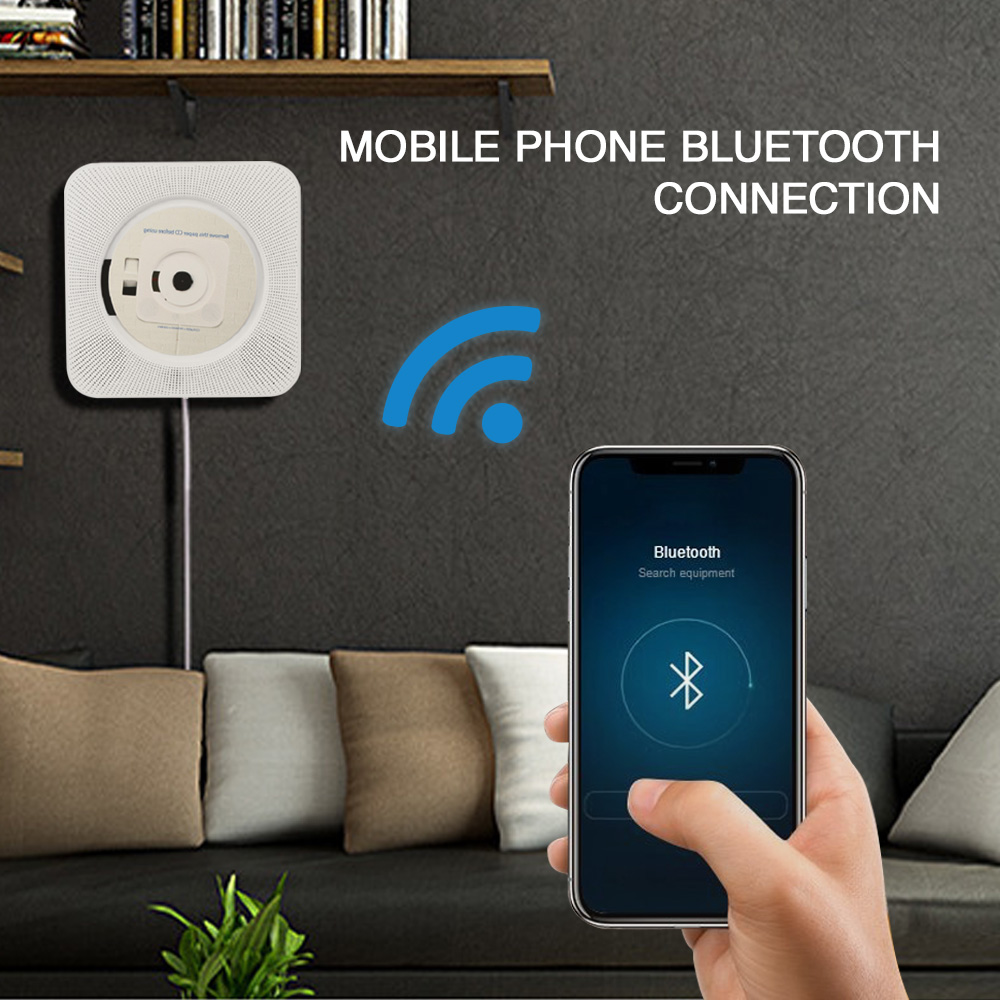 ET CD Player Wall Mounted Bluetooth Music Players with Remote Control/ 3.5mm Headphone Jack/ USB Adapter Support FM Radio MP3