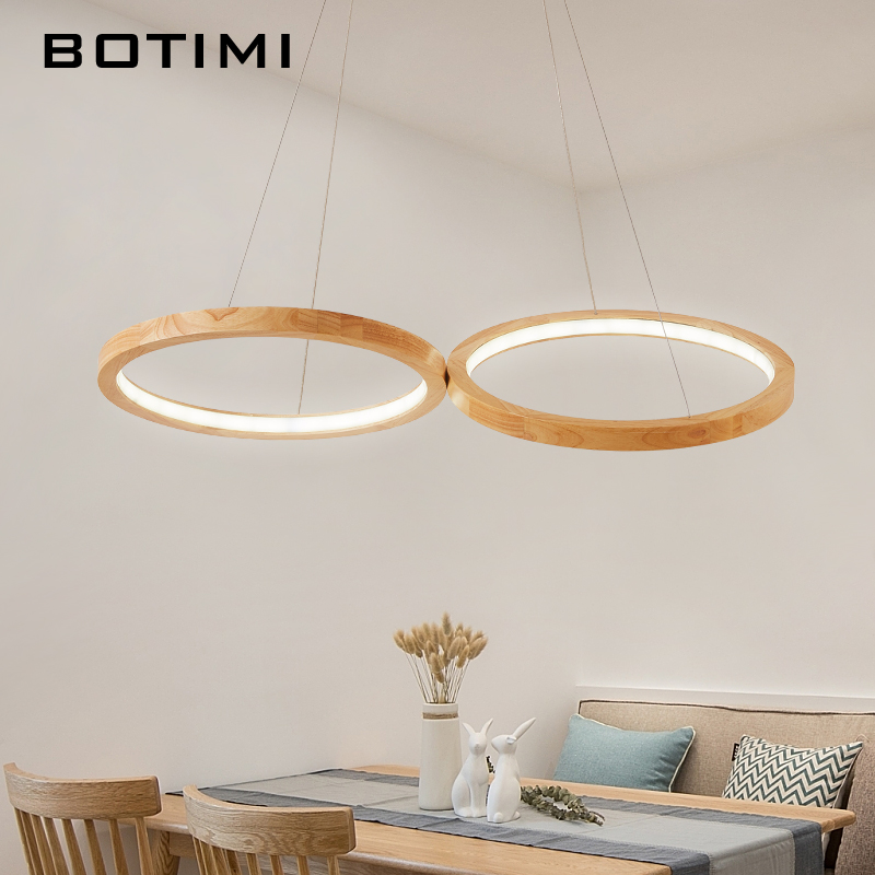 BOTIMI Wooden LED Pendant Lights For Dining Room 2 Round Wooden Rings Lustre Wood Kitchen Luminaire Kitchen Hanging Lamp