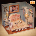 h010 Free Shipping 3D Puzzle Miniature Model DIY Wooden Doll House Toy Educational Toys
