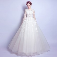 Angel Wedding Dress Marriage Bride Bridal Gown Vestido De Noiva   Lace  flowers princess long-sleeved nea 2017 2118