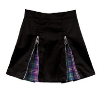 Summer Women Skirt Harajuku Punk Rock Gothic Style Plaid Stitching Love Letter Embroidery Zippers Decorative A Line Mini Skirt