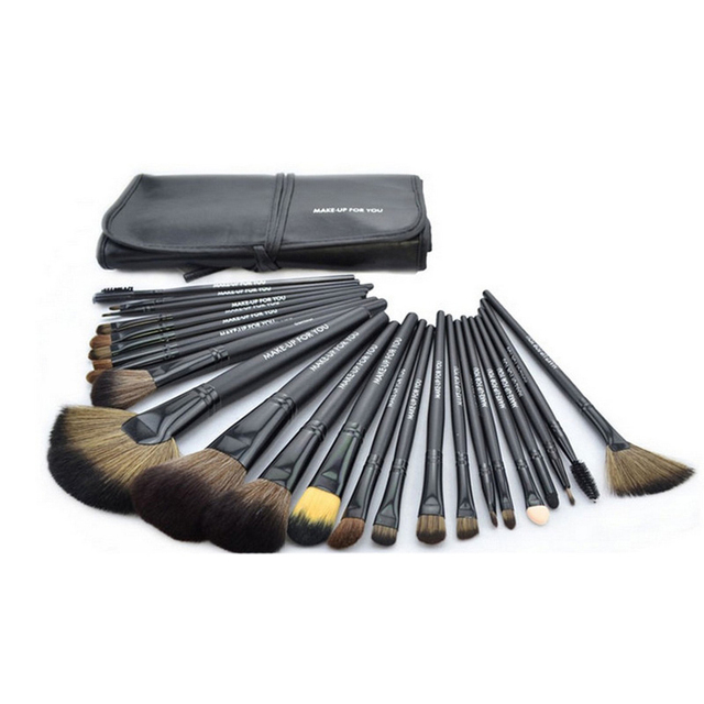 100% nueva marca profesional 24 unids maquillaje cepillos cosméticos conjunto Kit herramientas de brocha fundación sombra de ojos del labio + cuero negro bolsa