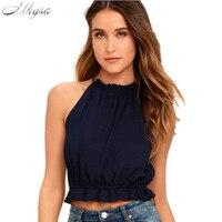 Mhysa 2018 New summer femmes blouses sexy sans manches de chemise Sans Bretelles femmes de chemise noir Blanc chemise H84