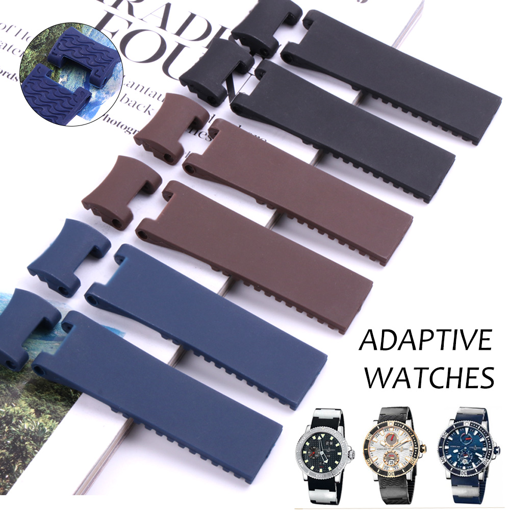 22-20mm Wholesale Black Brown Blue Waterproof Silicone Rubber Replacement Wrist Watch Band Strap Belt For Ulysse Nardin Watch