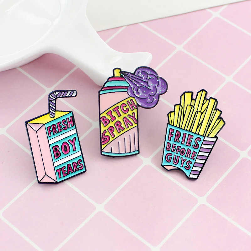 MINGQI Cartoon Fresh boy tears Fries before guys spray Enamel pin Pink purple Brooches Shirt Button badge women kids jewelry