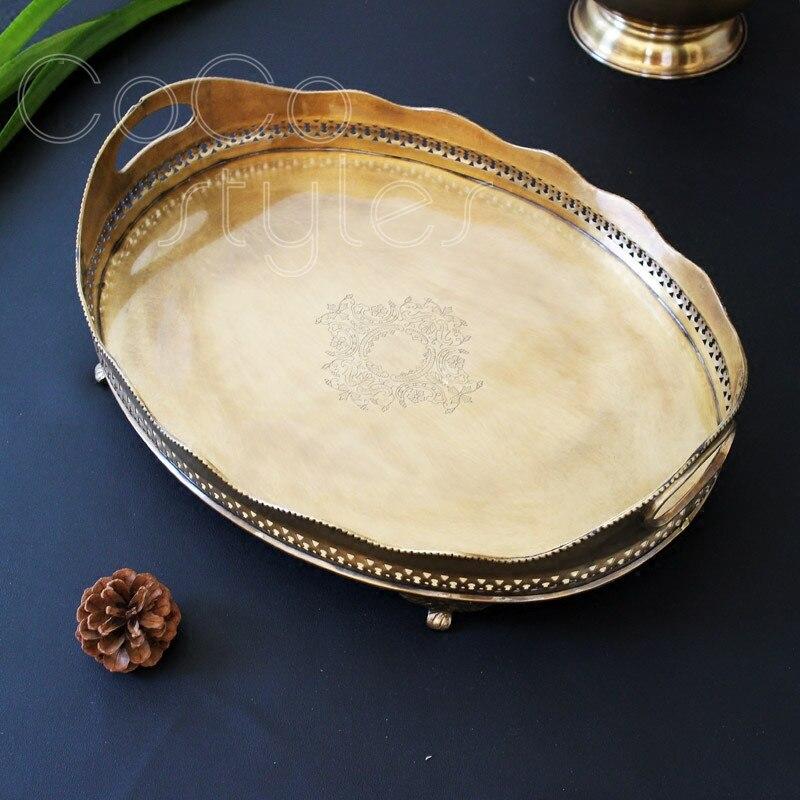 Cocostyles InsFashion plateau de service de fruits en laiton fait main pour table à thé classique de style français ornements de maison de luxe