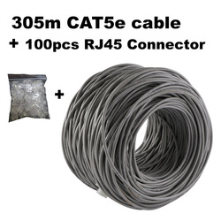 Cable de red CAT5e 305 metros + RJ45 conector 100 Uds