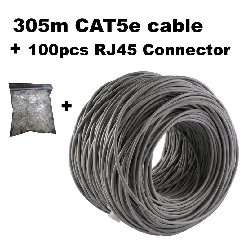 Network Cable CAT5e 305 Meters+ RJ45 Connector 100pcs