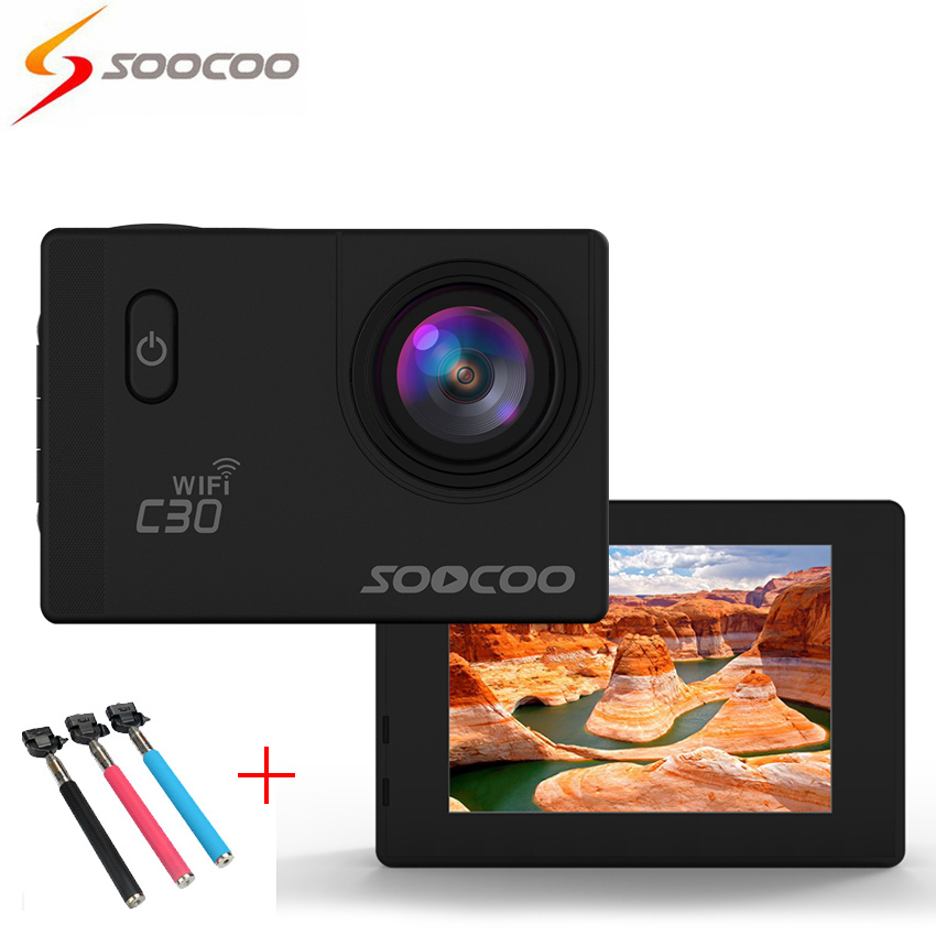 [+Selfie Stick] SOOCOO C30 4K Wifi Action Sport Camera (70-170 Degrees) 2.0 LCD DVR Video Mini Cameras deportiva Camcorders Cam
