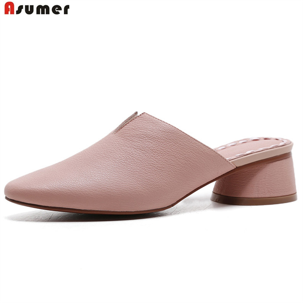 Asumer fashion spring autumn shoes woman round toe shallow casual mules shoes thick heel women genuine leather slippers asumer white spring autumn women shoes round toe ladies genuine leather flats shoes casual sneakers single shoes