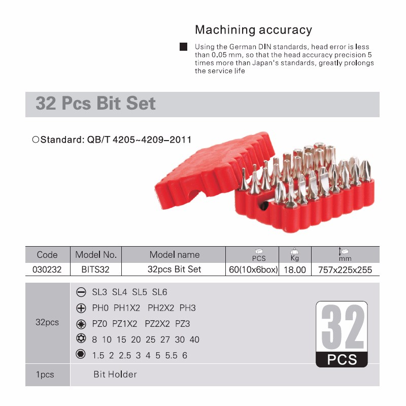 "Quality 32pc 25mm 1/4"" Hex Torque Precision Screw Driver Set"