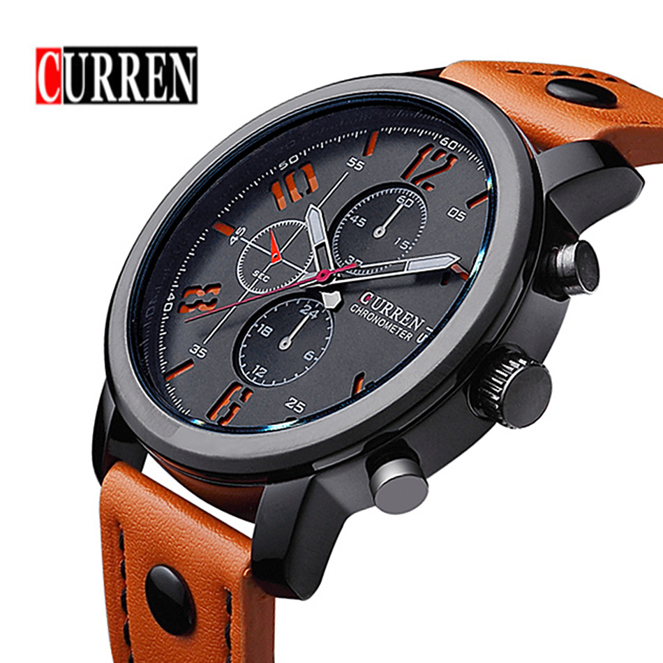 2016 CURREN Luxury Men Fashion Watches Analog 3D Face Military Sports Casual Watch Quartz Male Wristwatches