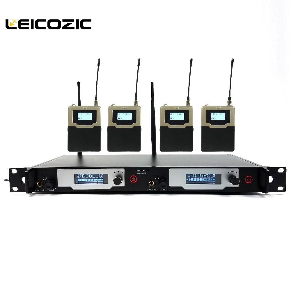 Sistema de Monitor Sem Fio No Ouvido Leicozic UHF Sistema IEM Monitoramento Palco L9400 4 Receptores SR2050 Estágio Profissional de Monitoramento