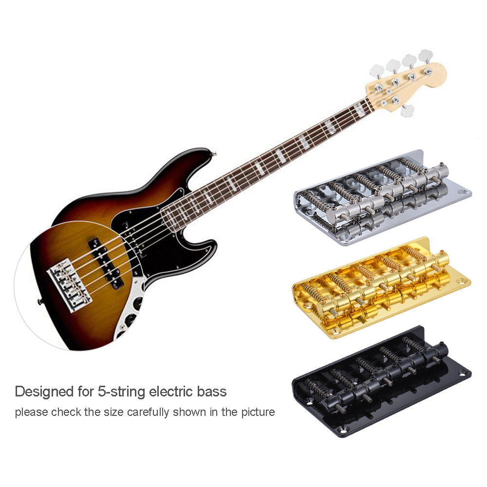 5-saddle Bridge Set For 5 String Electric Bass Guitar Part Replacement Black