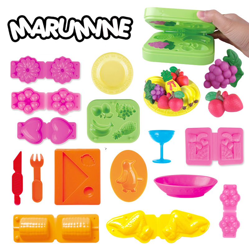 Marumine Color Play Dough Model Tool Toys Creative 3D Plasticine Tools Playdough Set Clay Moulds Deluxe Set