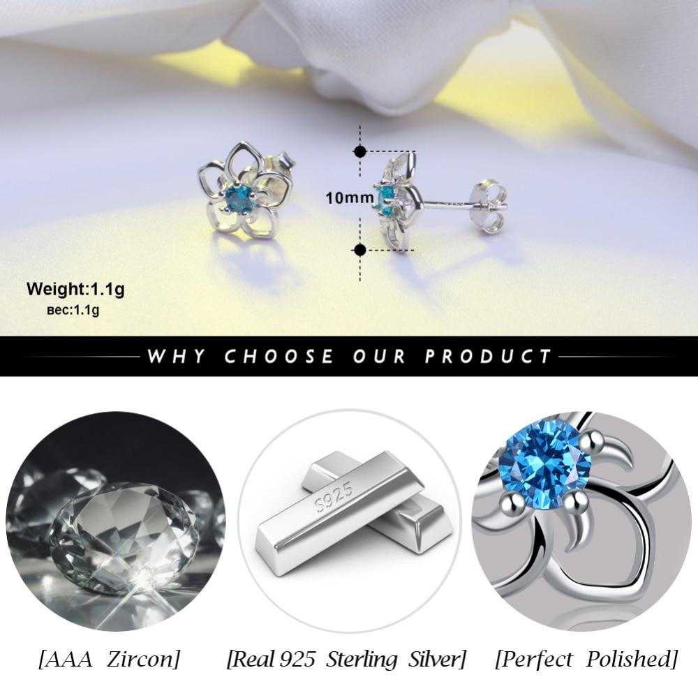 Rinntin Sterling Silver Stud Earrings For Women Real 925 Femine Aretes Clear Red Blue Purple AAA Cubic Zircon Jewelry TSE71