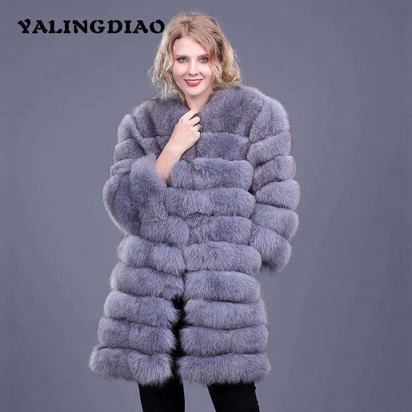 Mulheres Reais Casaco de Pele De Raposa Novo Grossas de Inverno Mulheres Quentes genuína Casaco de Pele O-pescoço Colete Nove Trimestre de Pele Real De Longo jaqueta