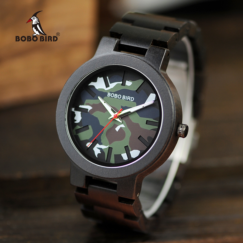 BOBO BIRD Men Watches Fashion Sport Wood Watch Camouflage Color Stylish Quartz Wristwatch Great Gifts for Man Dropshipping C-R16 stylish digital camouflage pattern 5cm width coffee color tie for men