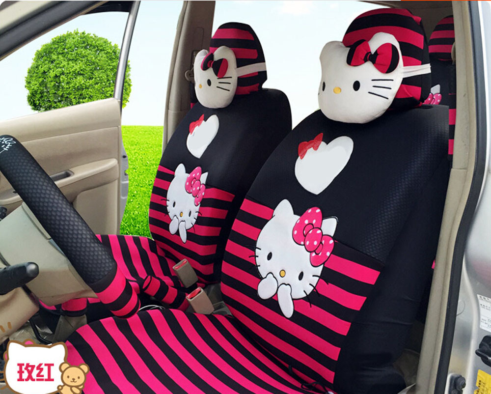 18pcs 2015 New Ice Silk Cute Cartoon Cat Car Seat Cover Covers Four Seasons In Automobiles From Motorcycles On
