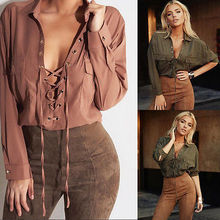 Autumn Women Sexy Long Sleeve Chiffon Blouses Front Strap Casual Tops Shirt Army Green Light Brown Plus Size S -Xl