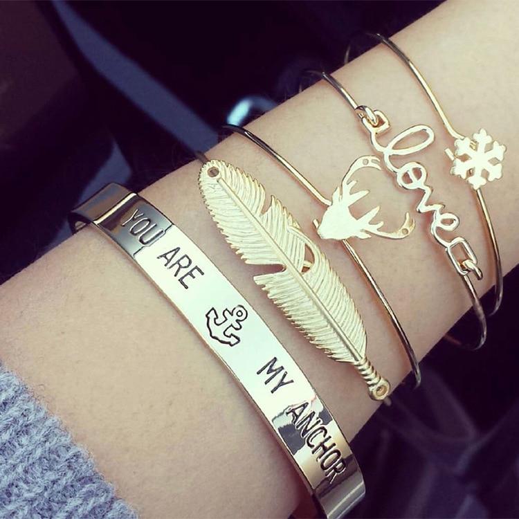 2018 New multi-layer bracelet four-piece gold snow deer head leaf bracelet set for famele free shipping 2