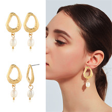 цена на CRLEY freshwater pearl drop earrings for women chic waterdrop shape gold frame wedding engagement real pearl jewelry gift
