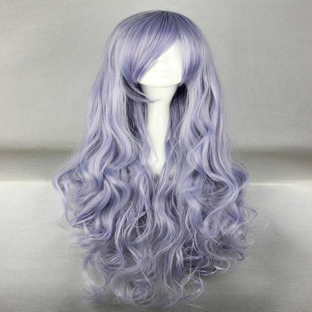 HAIRJOY Beautiful 80cm Long  Wavy Grey Purple  Heat Resistant Soft Rozen Maiden Cosplay Wig Free Shipping