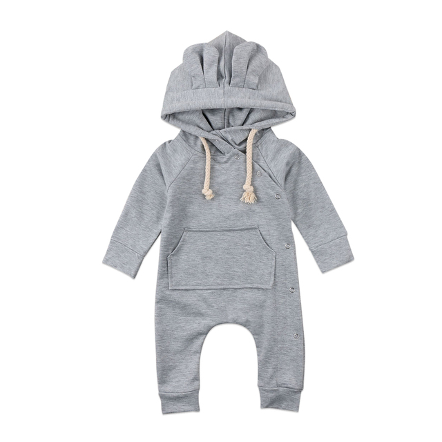 17885765bf1 Hooded Romper Cute Bear Ear Hoodie Baby Clothing Newborn Infants Baby Boys  Girls Grow Romper Hooded