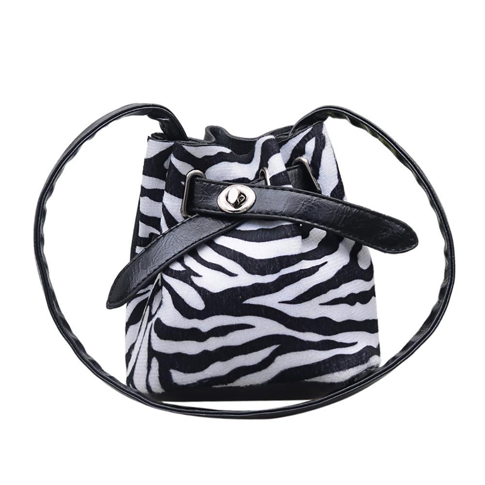 Vintage Zebra Streifen/leopard Druck Mädchen Mini Eimer Crossbody Schulter Tasche Kinder- & Babytaschen Gepäck & Taschen