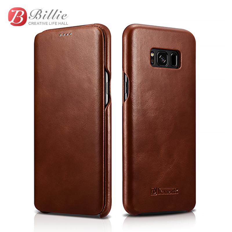 Icarer Genuine Retro Leather Flip Case Cover For Samsung galaxy s8 s8 plus cowhide leather coque