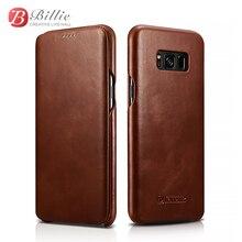 Icarer véritable coque en cuir rétro pour Samsung galaxy s8/s8 plus coque en cuir de vachette fermeture magnétique style livre