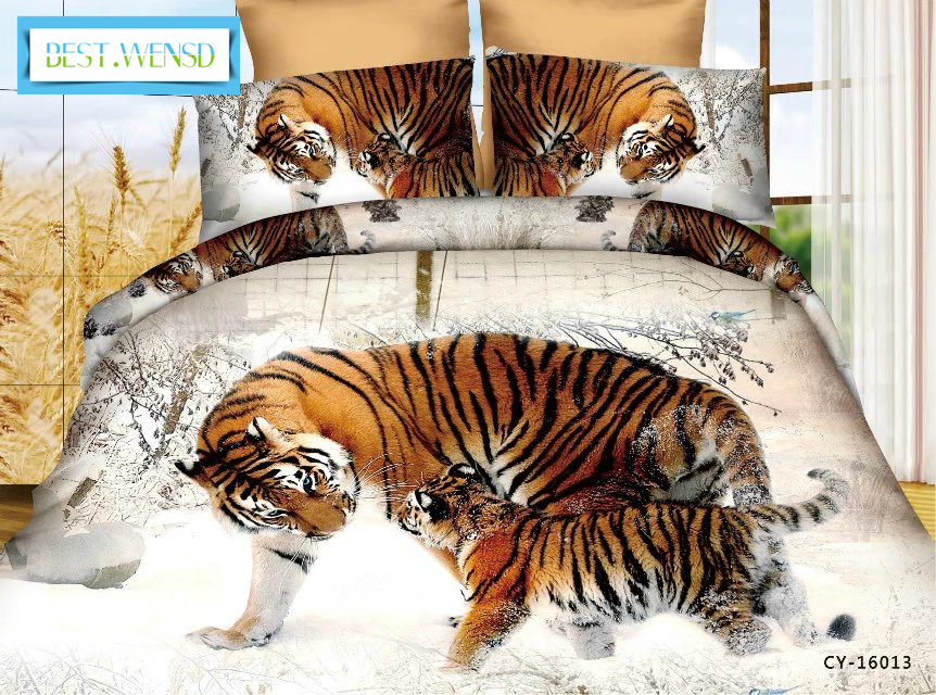 BEST WENSD wholesale 3D Bedclothes Wolf Leopard Tiger Lion Panda Flower 4pcs luxury bedding set king