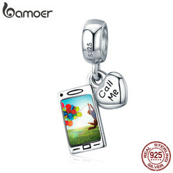 BAMOER Genuine 925 Sterling Silver Call Me telephone Phone Mobile Charm Pendant fit Women Bracelet & Necklaces Jewelry SCC667