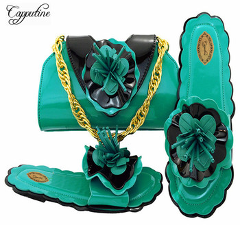 Capputine Hot Selling Ladies Shoes With Matching Bags Set 2018 Italian Decorated With Flowers Shoes And Bag Set For Party M10531