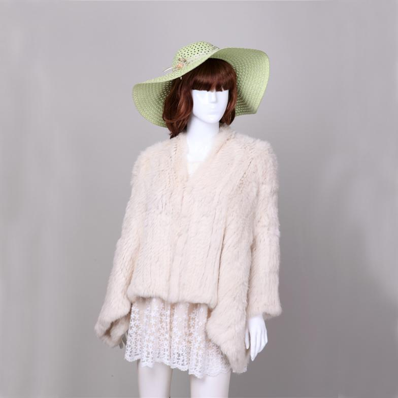 b85e093280d Free shipping women genuine natural real rabbit coat   jacket knitted knit  fur coat cream color-in Fur   Faux Fur from Women s Clothing   Accessories