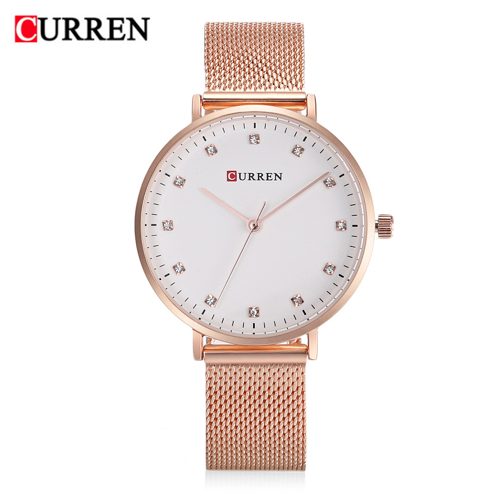 women watches Curren brand Fashion casual simple crystal dial Quartz watch elegant Creativity stainless steel Ladies clock 9023